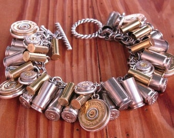Shotgun Casing Jewelry - Bullet Jewelry - Mixed Metal Loaded Bullet & Shotgun Casing Charm Bracelet - BEST SELLER for 5 YEARS!