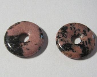Pair of polished natural Rhodonite gemstone donuts, make a pair of dangle earrings with these