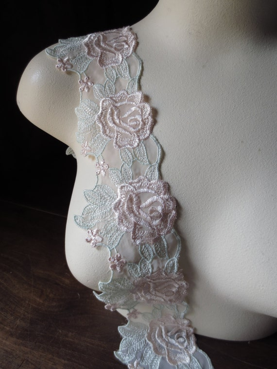 Lace Embroidered with Pink & Green Flowers Shabby Style for Bridal, Costume Design CL 5076