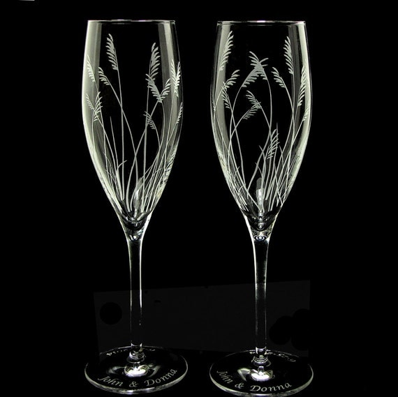Beach Wedding Champagne Glasses Engraved With Sea By Bradgoodell
