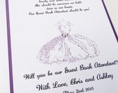 Guest Book Attendant Invitation - 5x7- Will you be my- Wedding- Dress