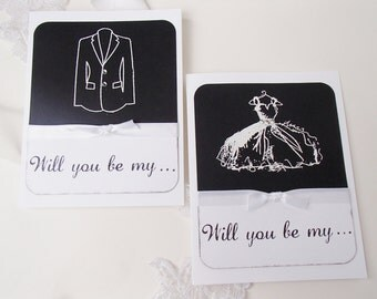 Will you be my..Black and White Cards-Groomsman, Bestman, Ringbearer, Bridesmaid, Maid/Matron of Honor, or Flower Girl- Set of 2