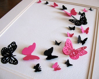 INVENTORY CLEARANCE Black & Fuschia French Inspired 3D Butterfly Art. Wall Art. Decor. 8x10