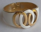 White Enamel Hinged Clamper Bracelet - Vintage Crown Trifari Gold and White Bracelet