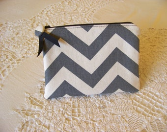PEN & PENCIL Pouch Large zippered pouch zippered bag. Grey Chevron with black accents