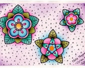 Vorssa Ink by Kata Puupponen Tattoo Flash Print Sheet flowers