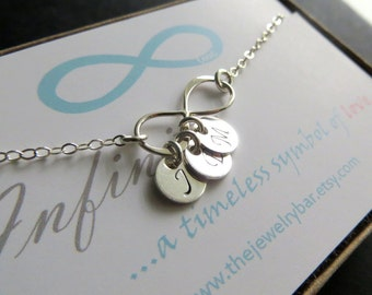 Mother's infinity necklace, Initial necklace, personalized jewelry, Personalized infinity necklace, thank you card for mother