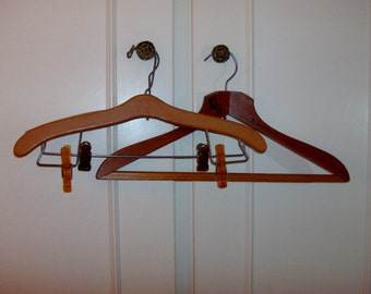 Instant Collection of 3 Old Wooden Hangers