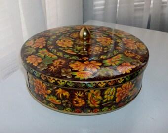 Ornate Black Tin Box With Flowers