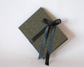 Accordion book - black with gold dots chiyogami - 3x4in. - Ready to ship