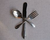 A Complete Baby  Sterling Silver Flatware Set  from 1920s in original box -  Spoon Fork Knife