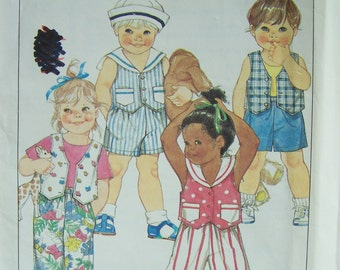 SALE Simplicity 9684 Toddler Pattern, Child's Elastic Waist Pants or Shorts, Lined Vest with or without Collar, Easy to Sew, Pattern Destash