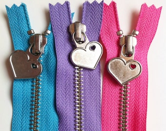 Metal Teeth 12 Inch Zippers with Special Heart Pull - YKK- 3 Pieces-  3 color sampler pack- pink, lavender, and blue