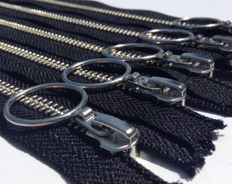 Metal Zippers- YKK Nickel Teeth with Special Ring Pull(5) pieces - Black 580 - Number 5s- Available in 7,9,12, and 14 Inches