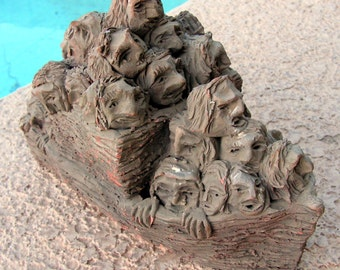 Rare TOM SCHOOLCRAFT Terra Cotta Sculpture Pottery Ship Boat People Signed Original Folk Art Clay Carving