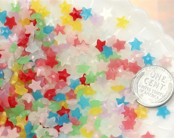 Star Cabochons - 6mm Mini Jelly Star Milky Color Acrylic or Resin Cabochons - 50 pc set