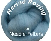 "Merino Roving 16"" SKY BLUE Perfect for Needle Felting, Doll Hair, Animal Fur"