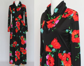 70's Nylon Knit Maxi Dress / Bright Floral Print / Cowel Collar / XSmall to Small