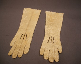 Antique Kid Leather Gloves for French Fashion Doll - Early 1900s