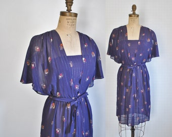 1970s Sheer Metallic Day Dress / boho / Small
