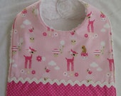 Chenille Bib 3 absorbent layers with pink deer fabric