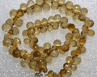 Very Nice Gem Beer Quartz Tiny Faceted Teardrop Briolette Drop  Beads, 10 beads