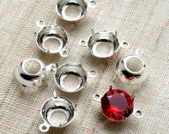 10mm Round Sterling Silver Plated  Open Back Prong Settings 1 Ring / 2 Ring - 6 pcs