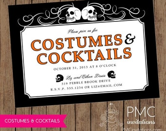 Costumes & Cocktails Adult Halloween Invitation  - 1.00 each with envelope