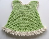 Ready To Ship Crochet Soft Green Baby Girl Dress - Crocheted Lime and Cream Baby Dress - Ruffled Crocheted Baby Dress - Size 3 to 6 Months