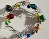 Beaded Bracelet  Recycled Jewelry Wire Wrapped