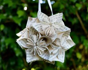 Frankenstein Book Small Paper Flower Pomander Ornament