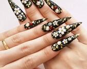 Stiletto nail, pointy nail, Japanese 3D nails, cherry blossom, black nail, deco nail, Harajuku, photo shoot, alternative fashion, drag queen