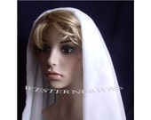2 TIER CHIFFON  Wedding Bridal Veil  Elbow length  ready to wear on silver comb white or ivory