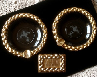 Vintage Set of Small Ormolu Etched Fleur De Lis Glass and Gold Ormolu Ash Trays and Match Box Holder