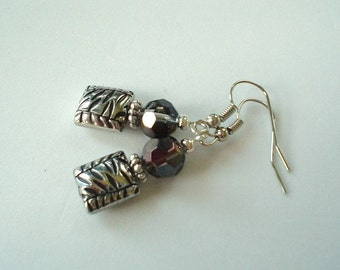 Silver and Metallic Pewter Gray Glass with Pewter Beaded Earrings