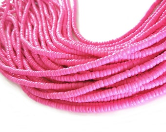 Coconut bead 150 pink wood Beads - Coconut Rondelle Disk Beads 4-5mm  (PC219L)