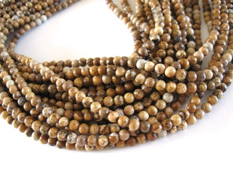 Natural Picture Jasper Stone Beads Strands 4mm Round (PP304)