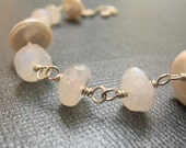 Rainbow Moonstone and Pearl Wire Wrapped Bracelet