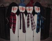 Country Christmas Snowmen Fireplace Screen
