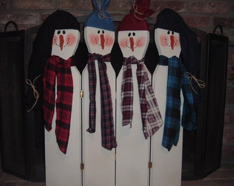 Country Christmas Snowmen Fireplace Screen