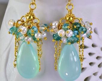 Aqua Chalcedony Apatite Chandelier Earrings 14k Gold Filled Apatite Pearl Topaz Wire Wrapped Earrings