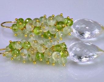 Multi Gemstone Cluster Earrings Wire Wrapped Earrings Peridot Prehnite Rock Crystal 14k Gold Fill Long Cluster Earrings