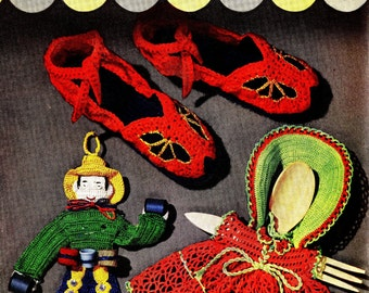 Vintage Crochet Patterns Slippers Doll Clothes Apron Novelty Accessories Gifts Edgings Home Decor Washcloths PDF eBook Crochet Money Makers