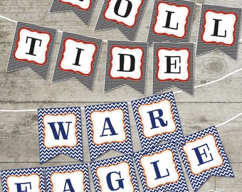 House Divided - Roll Tide / War Eagle Chevron Printable Banners