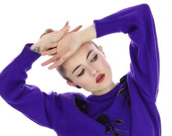 80s Rose Sweater Purple Sequined Bedazzled Glam Applique Black Roses Medium M