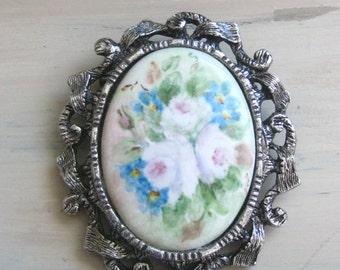 Vintage Handpainted Roses Porcelain Pin Brooch & Pendant