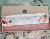 Floral Linen Bookmark - 'A place for everything and everything in its place'