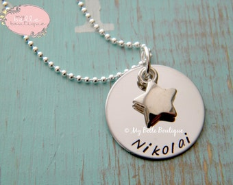 Personalized Hand Stamped Necklace with Dainty Silver Star Charm