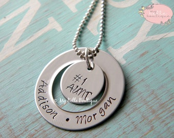 Personalized Hand Stamped Family Washer and Disc / Disk Necklace