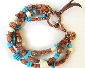 Turquoise Bracelet, Southwestern Bracelet, Triple Strand Bracelet, Copper Bracelet